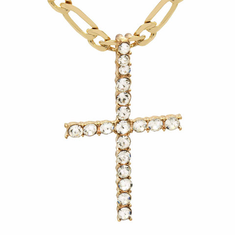 1 Line Cz Cross Necklace Black