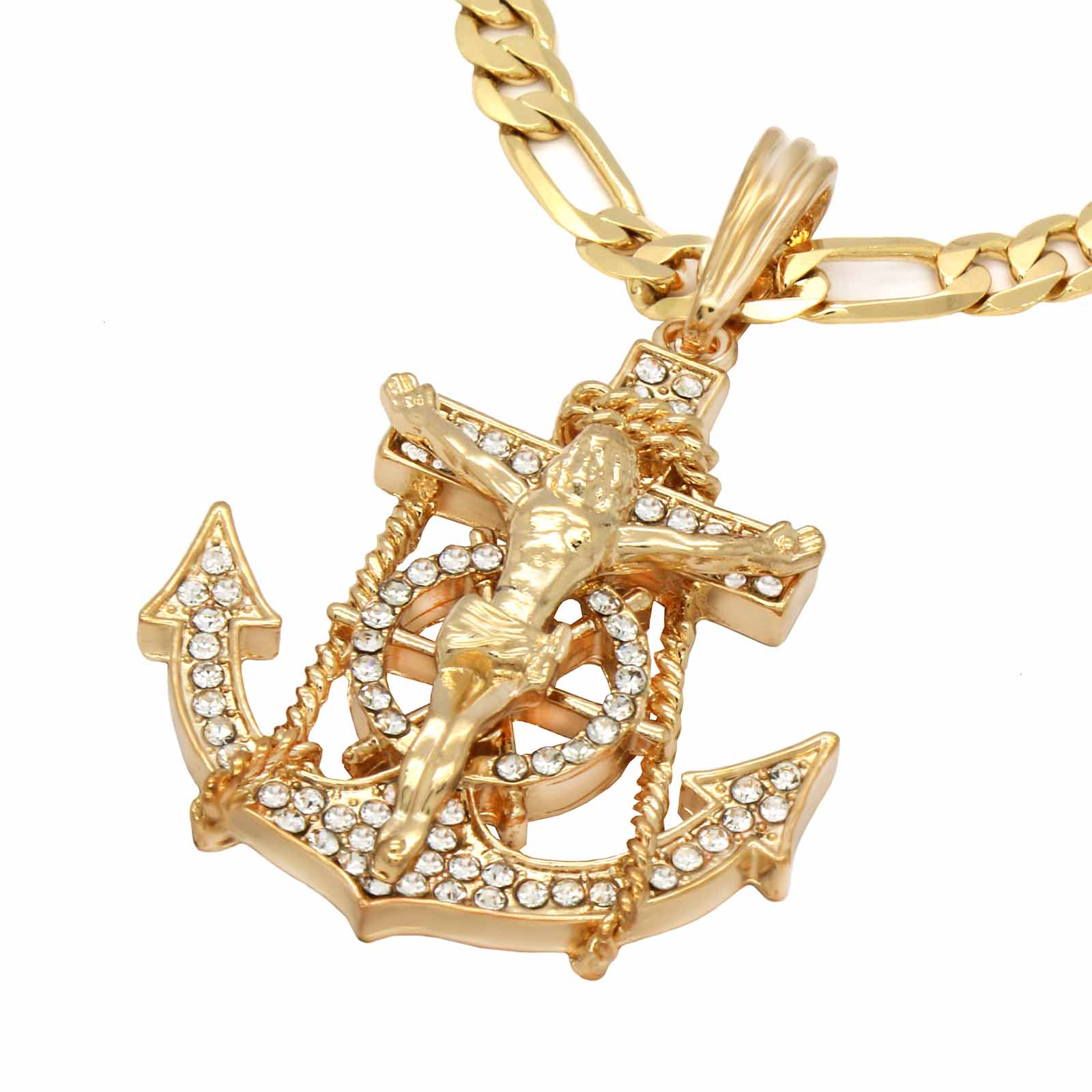 Anchor CZ Necklace Gold