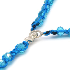 8MM Sky Blue Crystal Fabric Rosary With Cross Pendant