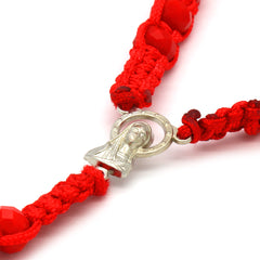 8MM Red Crystal Fabric Rosary With Cross Pendant