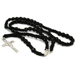 8MM Black Crystal Black Fabric Rosary With Cross Pendant