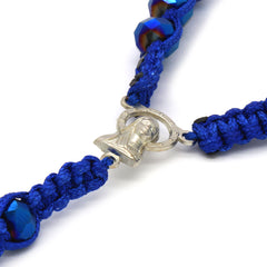 8MM Deep Blue Crystal Fabric Rosary With Cross Pendant