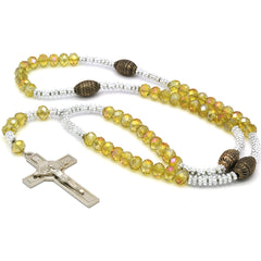 yellow Crystal Rosary With Cross Pendant