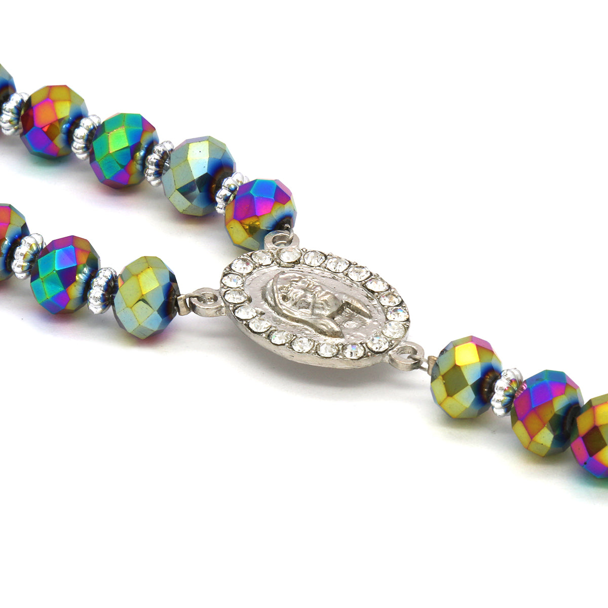 Rainbow Crystal Rosary With Cross Pendant