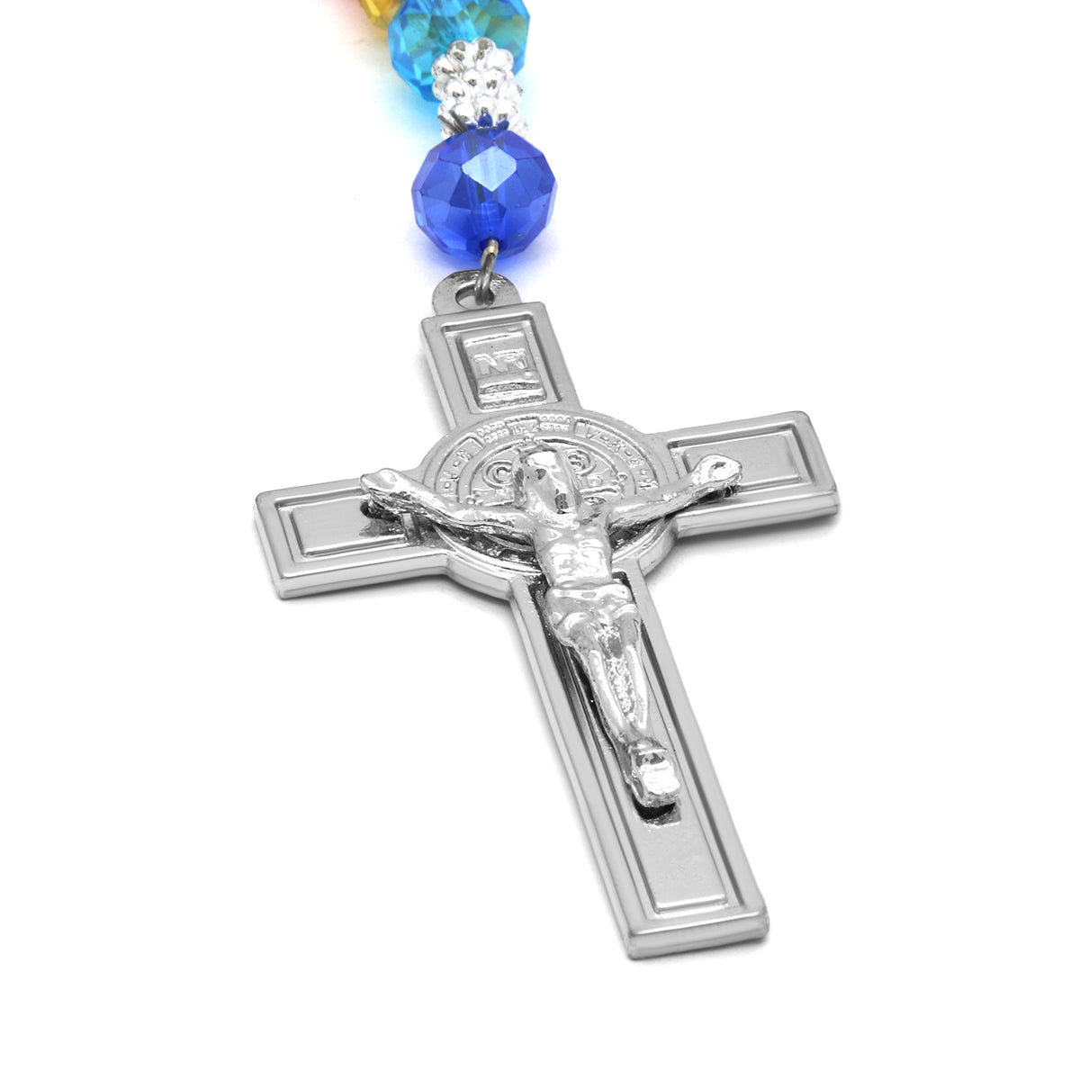 Multi Crystal Rosary With Cross Pendant