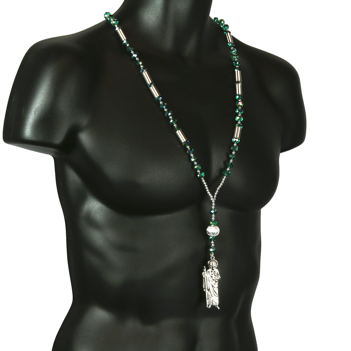 Green Crystal Rosary With SanJudas Pendant