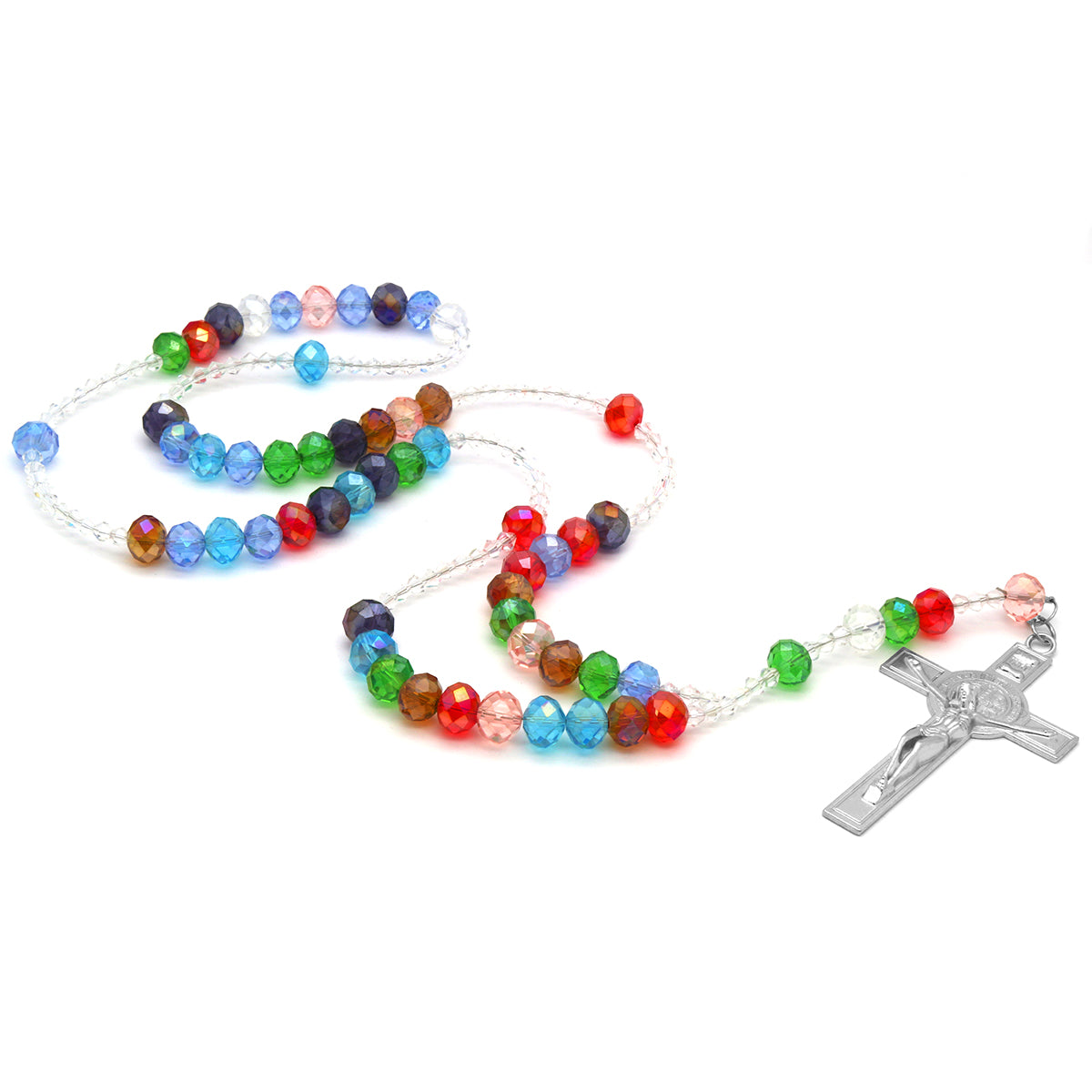 Multi/Clear Crystal Line Rosary With Cross Pendant