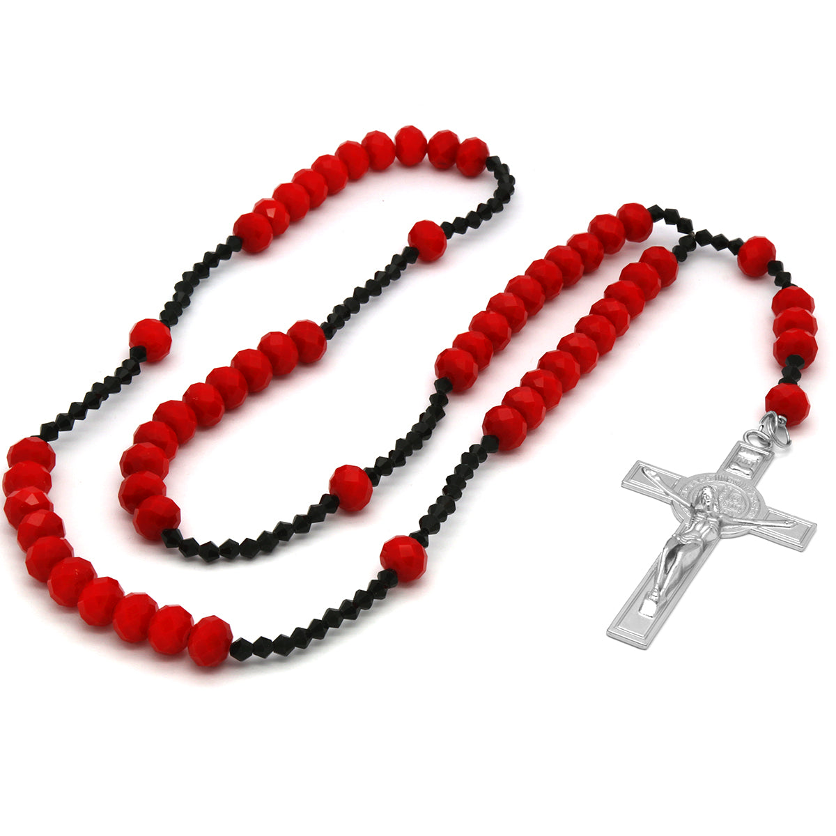 Red/Black Crystal Line Rosary With Cross Pendant