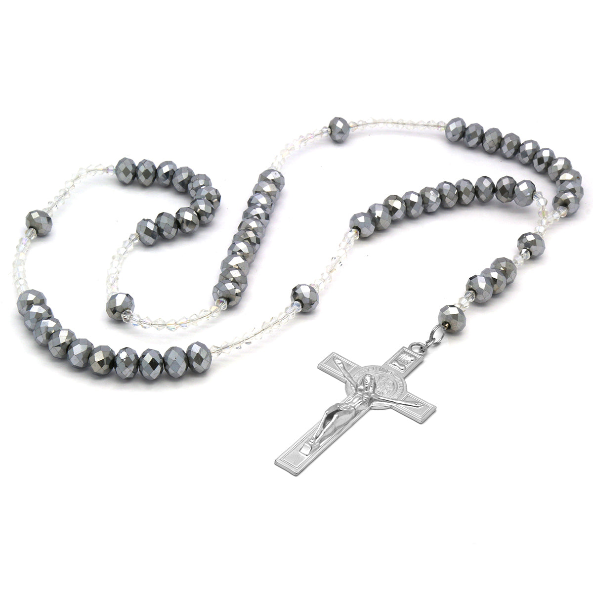 Silver/Clear Crystal Line Rosary With Cross Pendant
