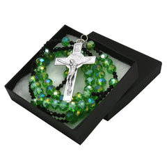 Green/Black Crystal Line Rosary With Cross Pendant