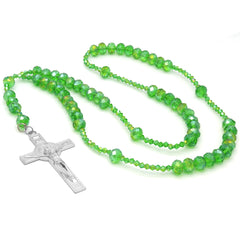 Light Green Crystal Line Rosary With Cross Pendant