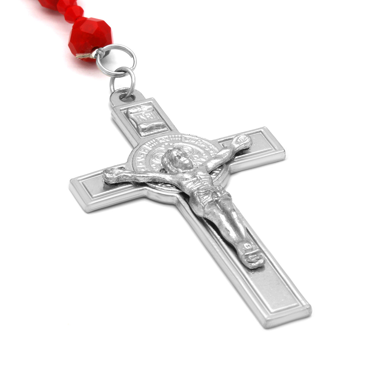Red Crystal Line Rosary With Cross Pendant