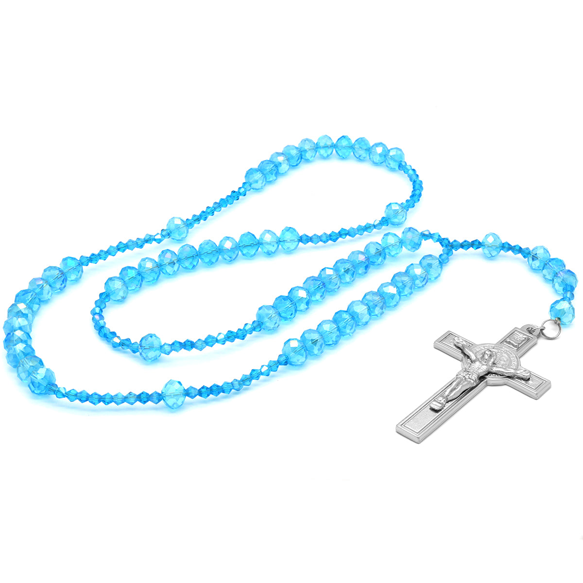 Sky Blue Crystal Line Rosary With Cross Pendant