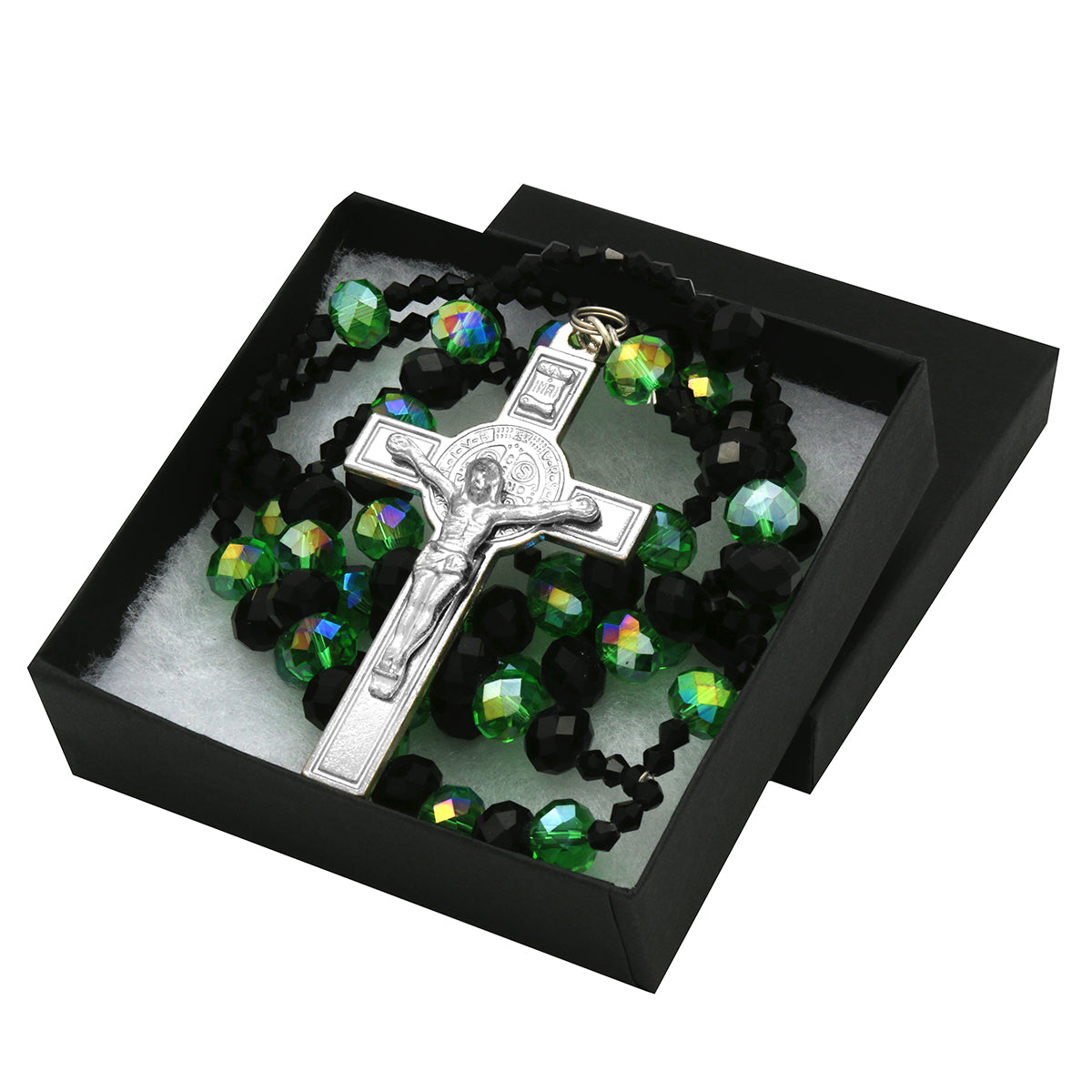 Green Black Crystal Line Rosary With Cross Pendant