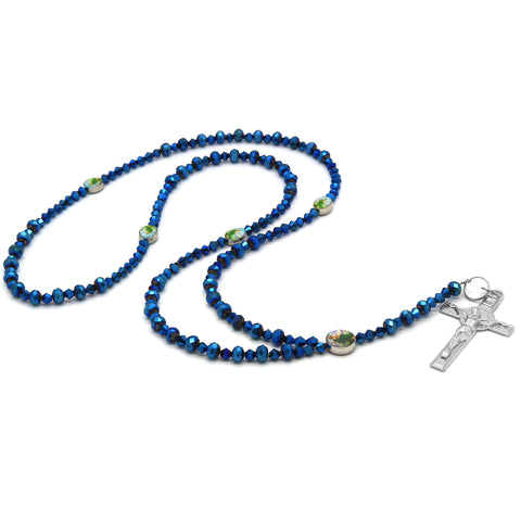 Blue Violet Crystal Line Rosary With Cross Pendant