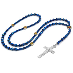 Lupe Epoxy Blue Violet Crystal Line Rosary With Cross Pendant