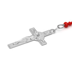 Lupe Epoxy Red Crystal Rosary With Cross Pendant