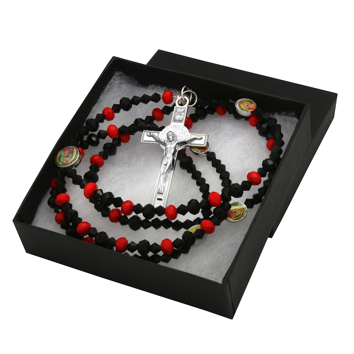Lupe Epoxy Red Black Crystal Rosary With Cross Pendant