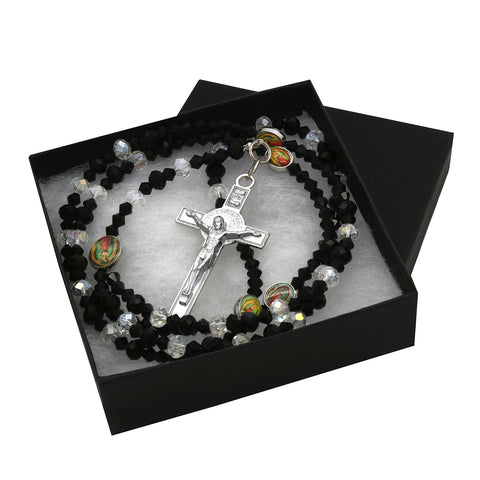 Lupe Epoxy Black Clear Crystal Rosary With Cross Pendant
