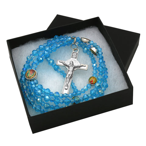 Lupe Epoxy Light Blue Crystal Rosary With Cross Pendant