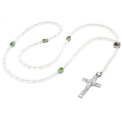 Sanjudas Epoxy Clear Crystal Rosary With Cross Pendant