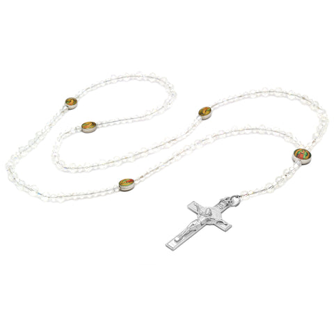 Lupe Epoxy Clear 2 Crystal Rosary With Cross Pendant