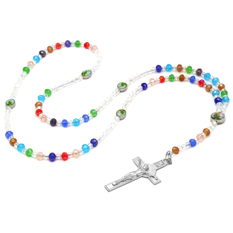 Sanjudas Epoxy Multi Crystal Rosary With Cross Pendant