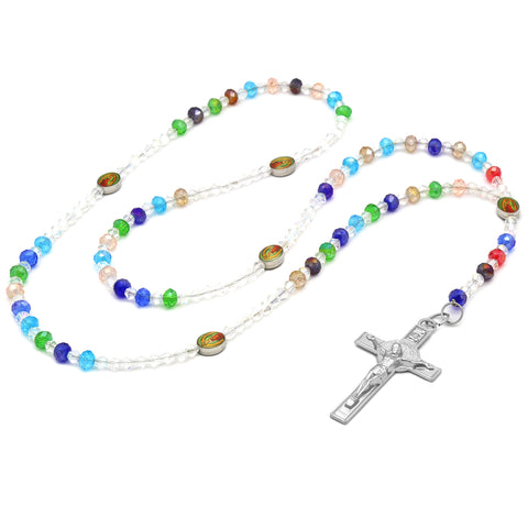 Lupe Epoxy Multi Crystal Rosary With Cross Pendant
