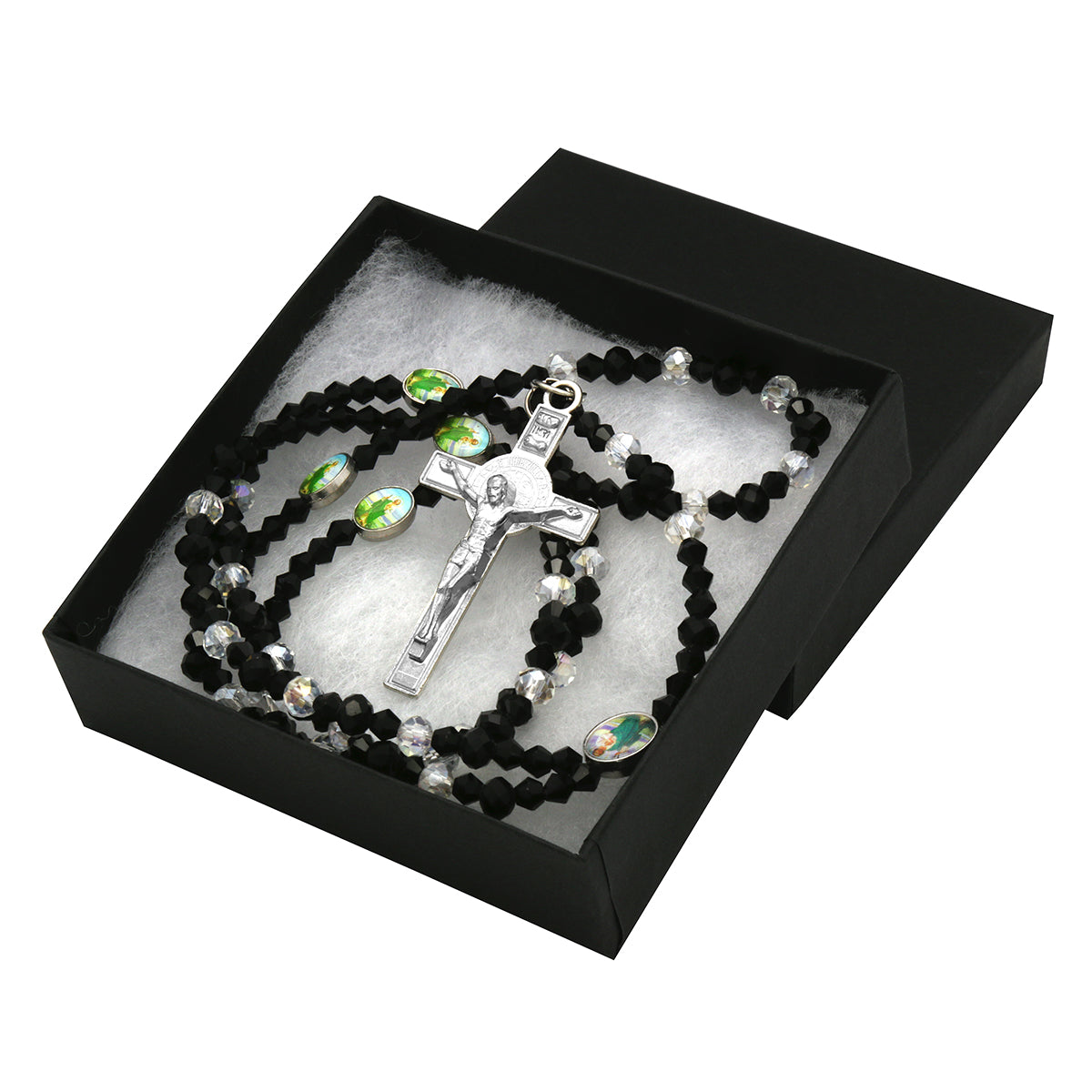 Black Sanjudas Epoxy Black Crystal Rosary With Cross Pendant