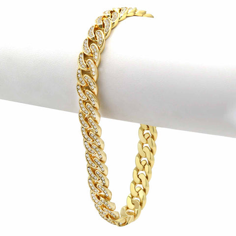 Cuban BRACELET Gold 8 mm 8.5""