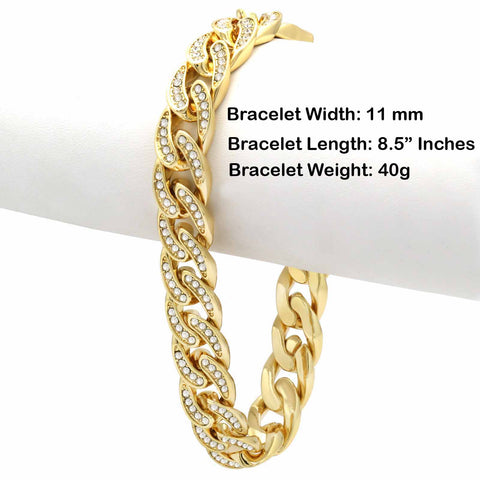 Cuban BRACELET Gold 11 mm 8.5""