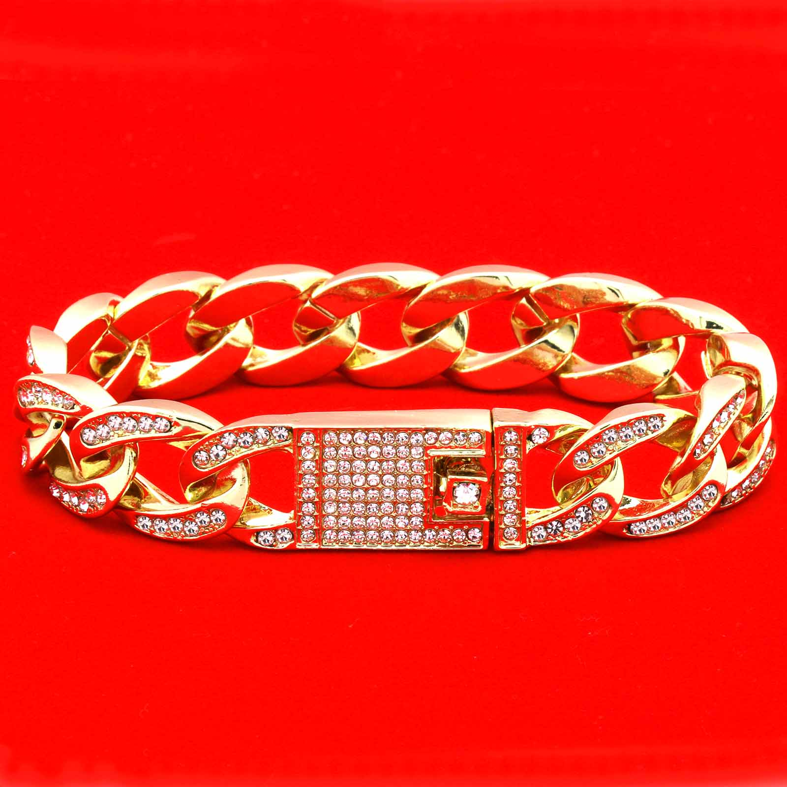 Cuban BRACELET Gold 16 mm 8.5""