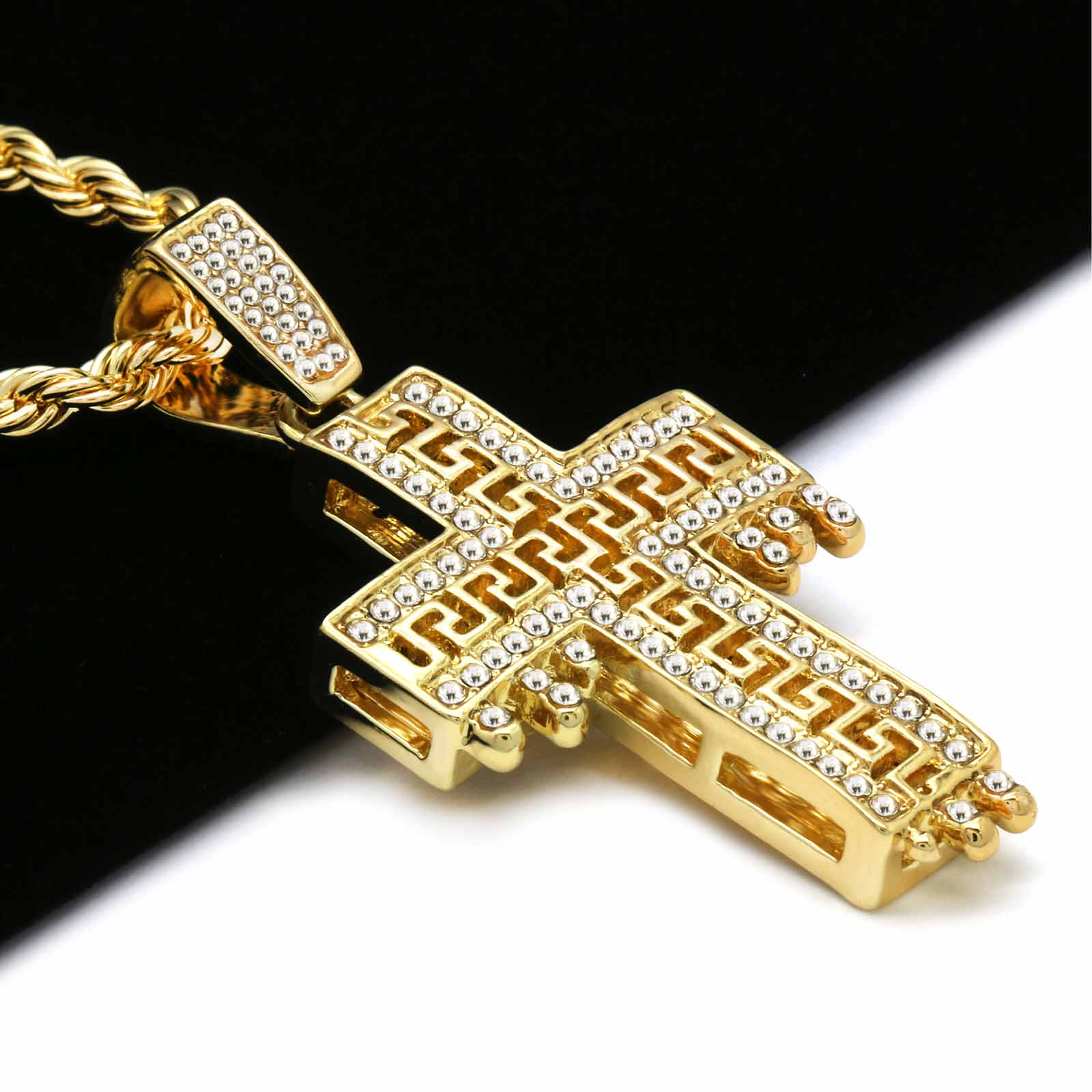 DRIP DESIGN CROSS PENDANT WITH GOLD ROPE CHAIN