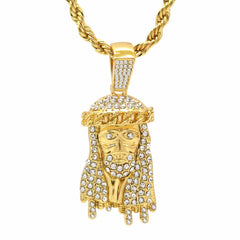 JESUS PENDANT WITH GOLD ROPE CHAIN