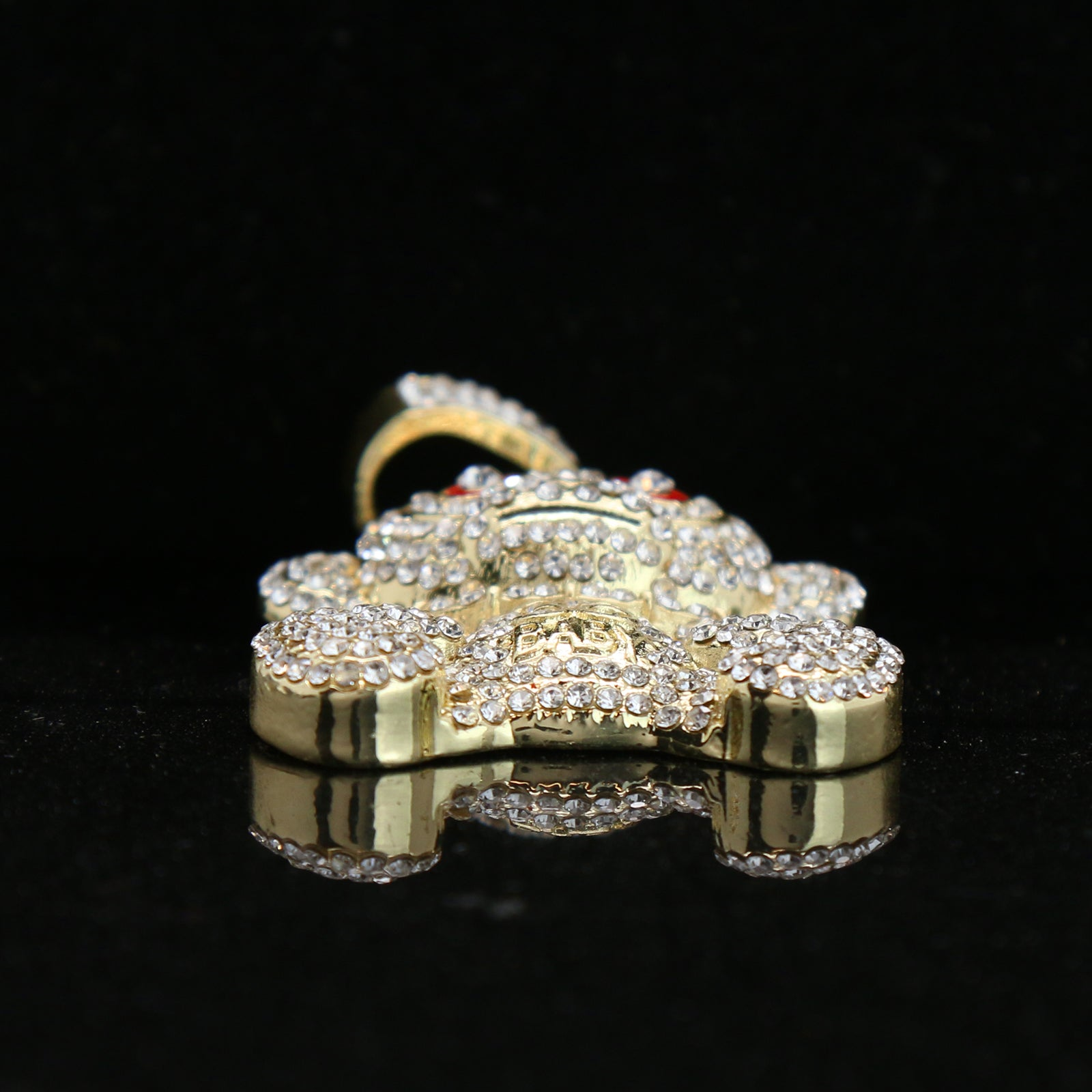 Baby 38 Iced out Pendant Gold Plated Franco Chain 4mm 24""