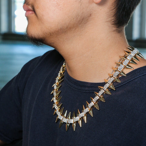 Mens Iced Out Heavy Hip Hop Punk Spike Rivet Choker Style Bling AAA Lab Diamond Hip Hop Chain Necklace