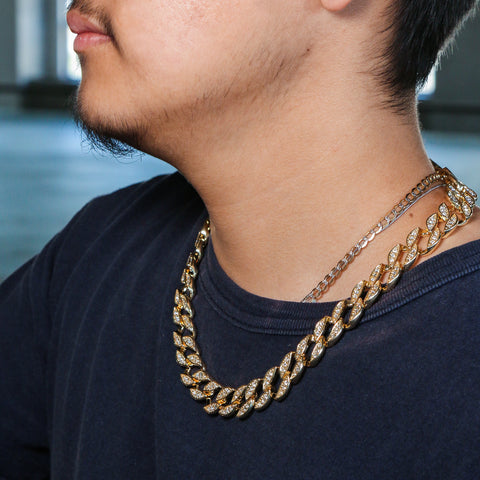 Mens Iced Out Cuban Link Choker Style Bling AAA Lab Diamond Hip Hop Chain Necklace
