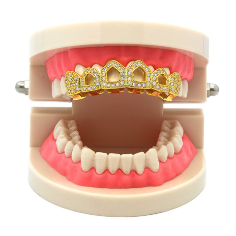 GOLD TOP GRILLZ 4 OPEN CZ