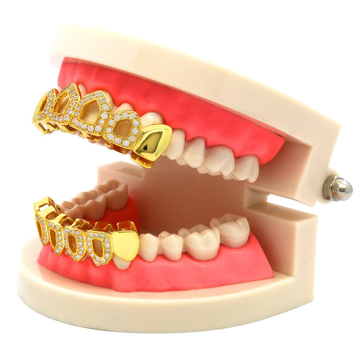 GRILLZ SET GOLD CZ HOLLOW