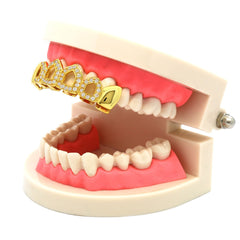GOLD TOP GRILLZ PLAIN END 4 OPEN CZ