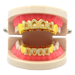 GRILLZ SET GOLD FANG CZ OPENING