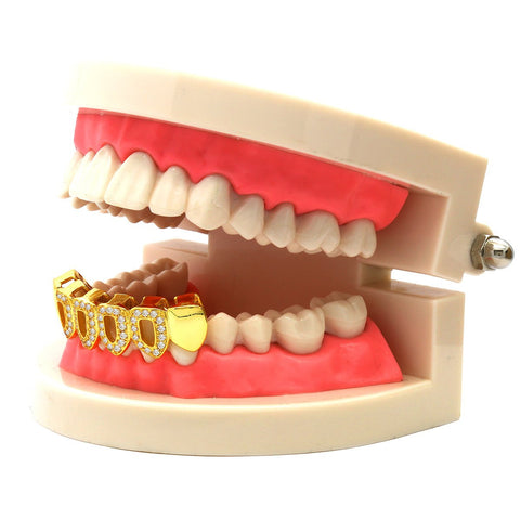 GOLD BOTTOM GRILLZ 4 OPEN CZ