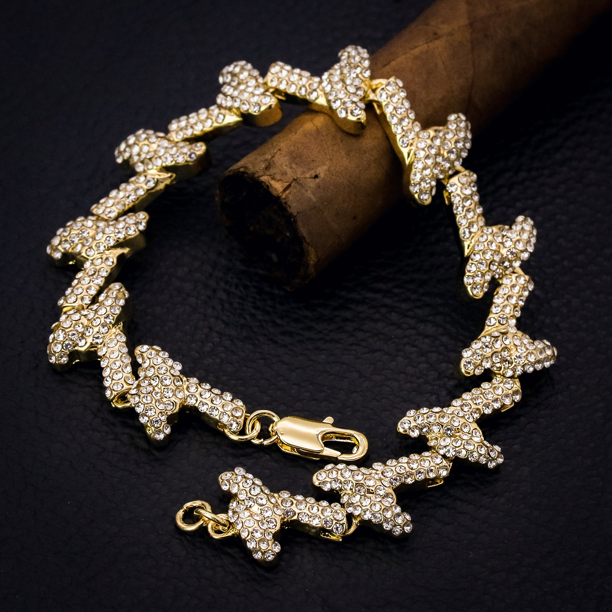 Barbed Wire Bracelet Spiky Iced 14k Gold Plated 15 mm 9""