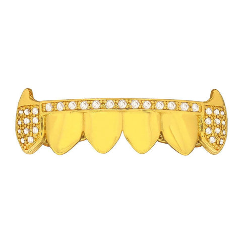GOLD BOTTOM GRILLZ CZ ALIGNED FANG