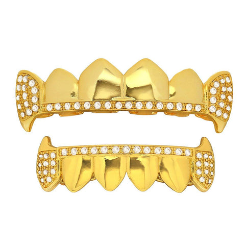 Gold Plated Full CZ Aligned Fang Best Grillz Set.