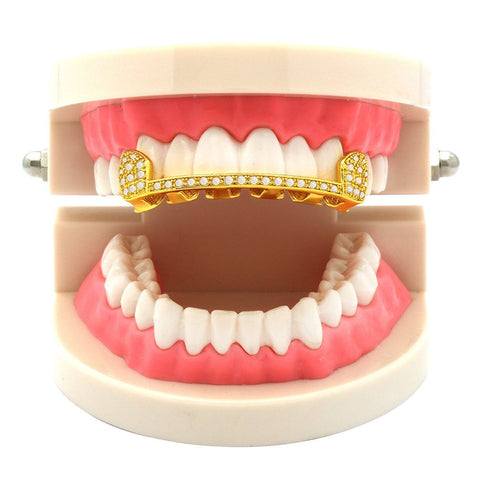 GOLD TOP GRILLZ SLIM CZ HALF