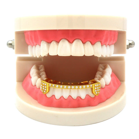 GOLD BOTTOM GRILLZ CZ HALF SLIM