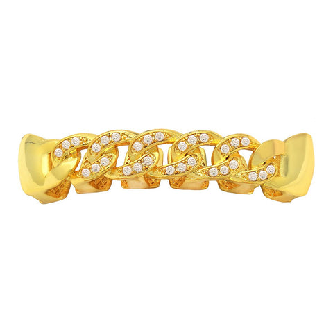 GOLD TOP GRILLZ CUBAN CZ