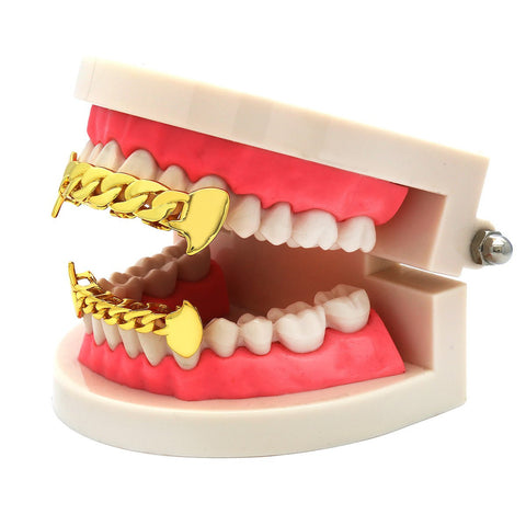 GRILLZ SET GOLD CUBAN FANG