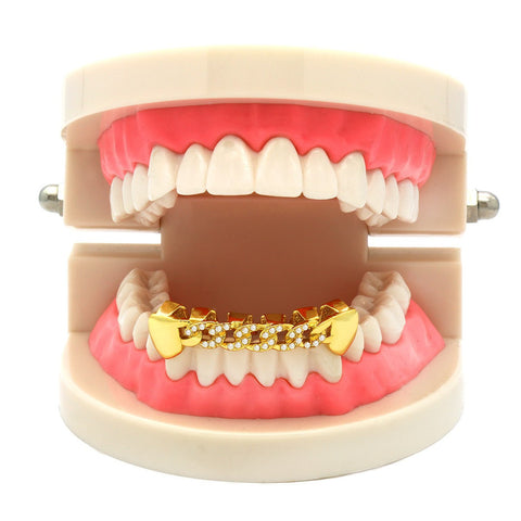 GOLD BOTTOM GRILLZ CZ CUBAN